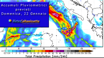Accumuli Pluviometrici previsti per Domenica, 22 Gennaio
